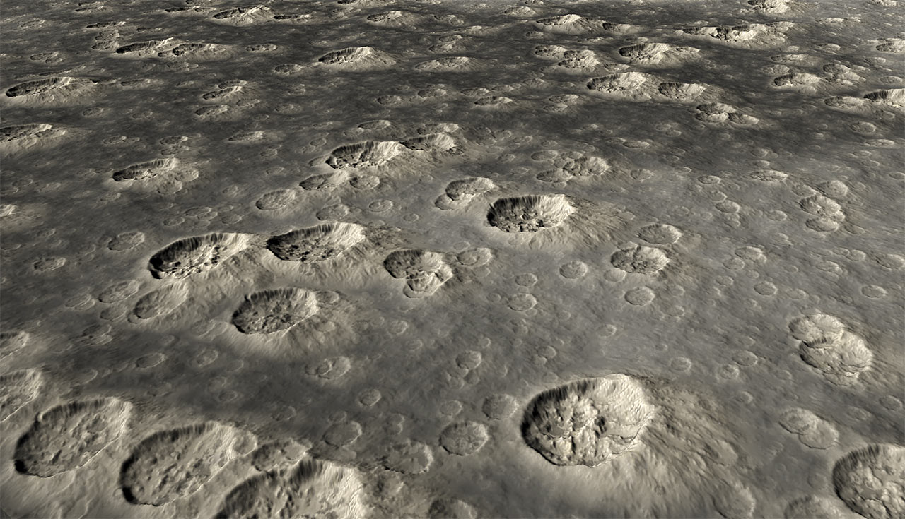 Fractally scattered craters