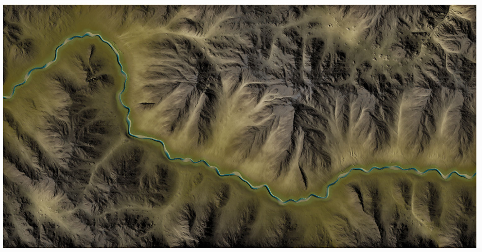 Overhead view of a mountain river